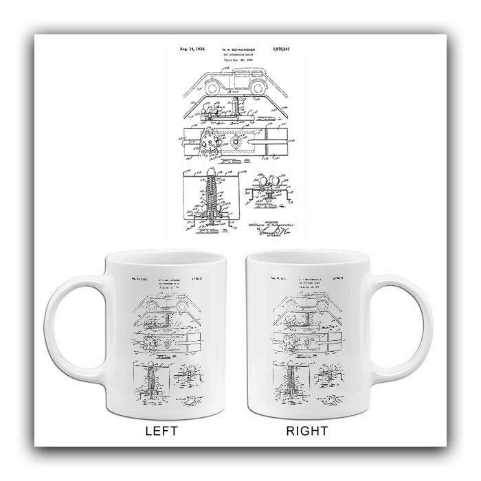 1934 - Toy Automobile Hoist - W. K. Schauweker - Wyandotte - All Metal Products - Patent Art Mug