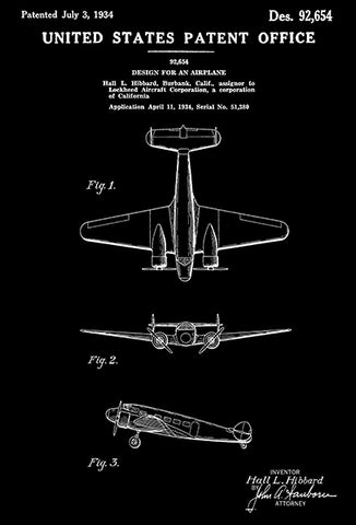 1934 - Lockheed Model 10 Electra  Airplane - H. L. Hibbard - Patent Art Poster