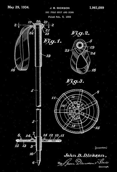 1934 - Ski Pole Grip and Ring - J. B. Dickson - Patent Art Poster