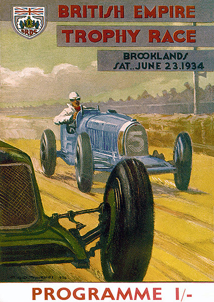 1934 British Empire Trophy Race - Brooklands - Program Cover Poster