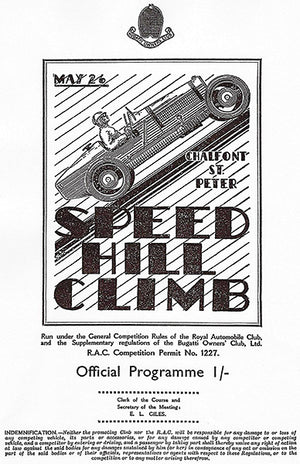 1934 Bughatti Owners Club Speed Hill Climb - Program Cover Poster