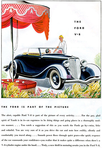 1934 Ford V-8 Convertible - Promotional Advertising Poster
