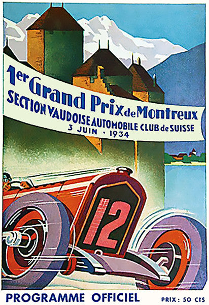 1934 Grand Prix Of Montreux Auto Race - Program Cover Poster