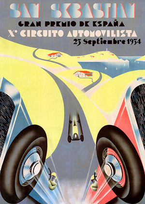 1934 Grand Prix Of Spain - San Sebastian - Promotional Race Poster