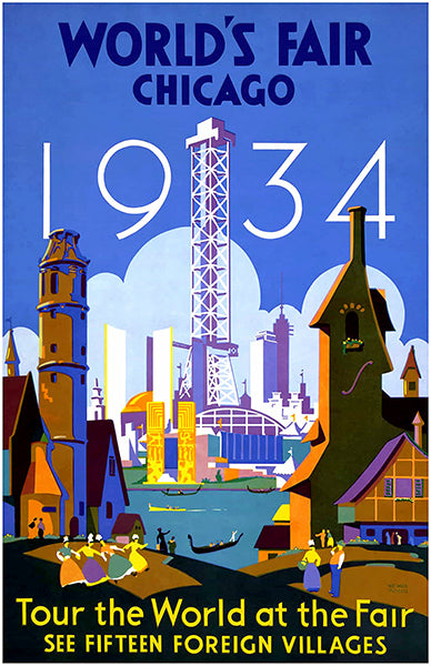 1934 World's Fair - Chicago IL - Promotional Advertising Poster