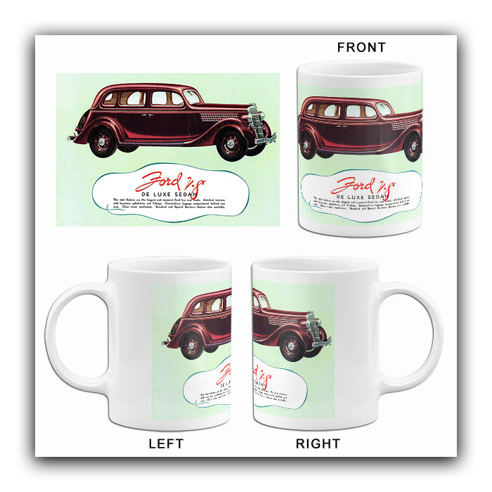 1935 Ford V-8 De Luxe Sedan - Promotional Advertising Mug