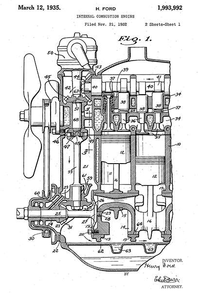 1935 - Internal Combustion Engine - Henry Ford - Patent Art Mug