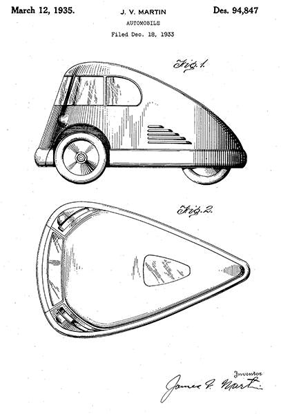 1935 - Three Wheel Vehicle - Automobile - J. V. Martin - Patent Art Mug