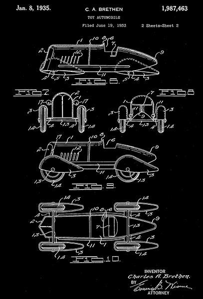 1935 - Toy Automobile - C. A. Brethen - Wyandotte - All Metal Products - Patent Art Mug
