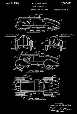 1935 - Toy Automobile - C. A. Brethen - Wyandotte - All Metal Products - Patent Art Poster