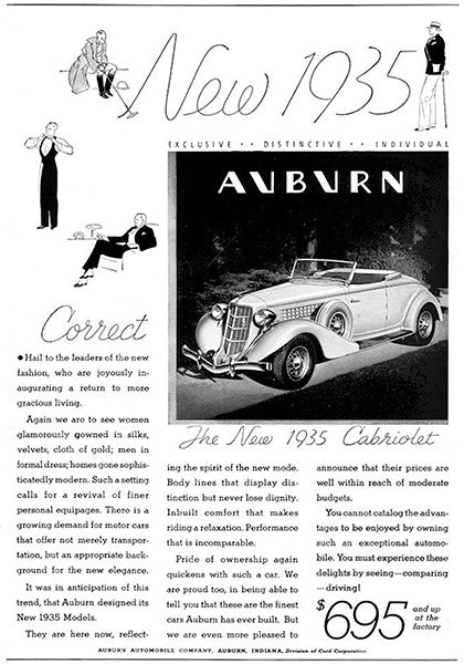 1935 Auburn Cabriolet - Promotional Advertising Poster