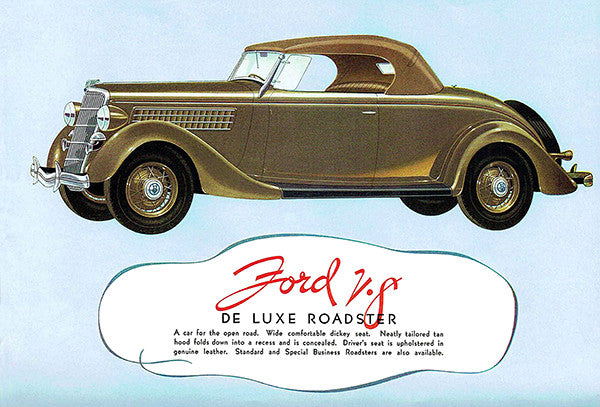 1935 Ford V-8 De Luxe Roadster - Promotional Advertising Poster