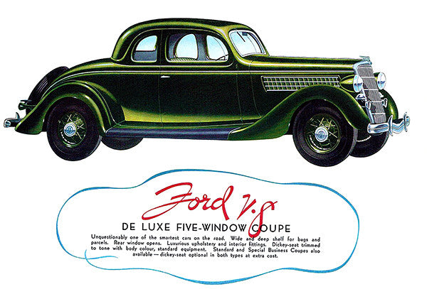 1935 V-8 De Luxe 5-Window Coupe - Promotional Advertising Poster