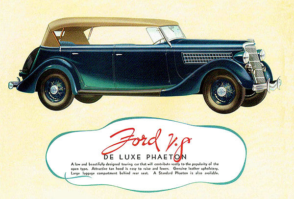 1935 V-8 De Luxe Phaeton - Promotional Advertising Poster