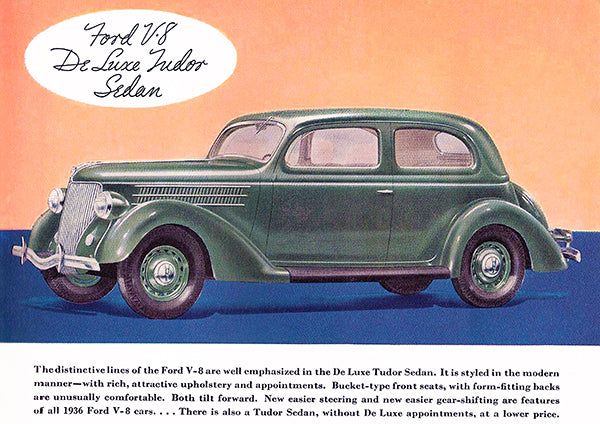 1936 Ford V-8 De Luxe Tudor Sedan - Promotional Advertising Poster