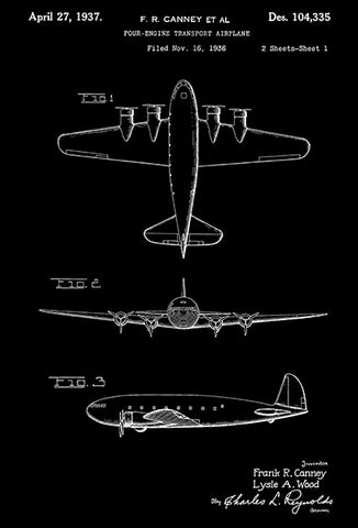 1937 - Boeing Model 307 Stratoliner C-75 - Four Engine Transport Airplane - F. R. Canney - Patent Art Poster