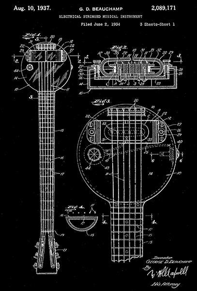 1937 - Rickenbacker Frying Pan Lap Steel Guitar - G. D. Beauchamp - Patent Art Mug