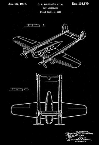 1937 - Toy Aeroplane #2 - C. A. Brethen - Wyandotte - All Metal Products - Patent Art Poster