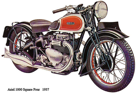 1937 Ariel 1000 Suare Four - Promotional Advertising Poster