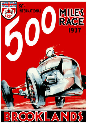 1937 Brooklands 500 Mile Race - Program Cover Poster