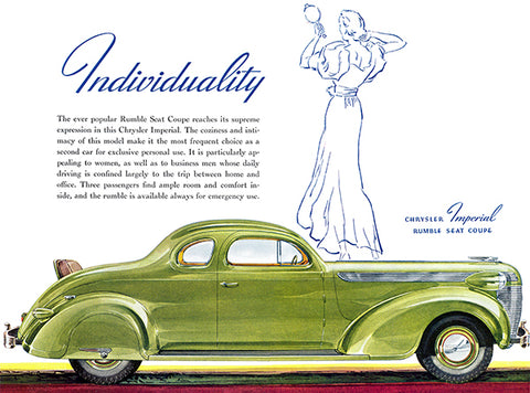 1937 Chrysler Imperial Rumble Seat Coupe - Promotional Advertising Poster