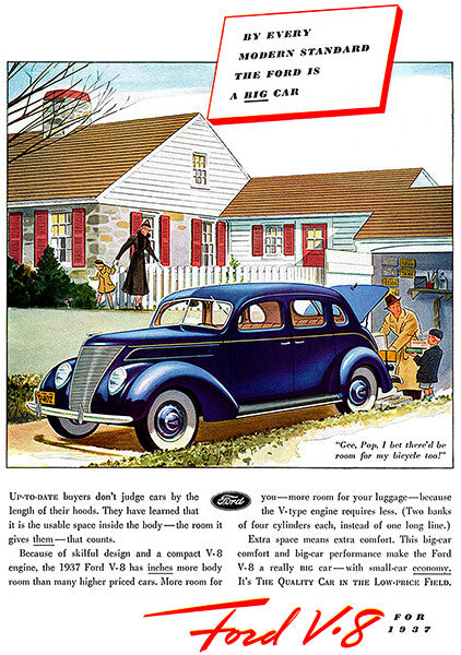 1937 Ford V-8 - The BIG Car - Promotional Advertising Poster