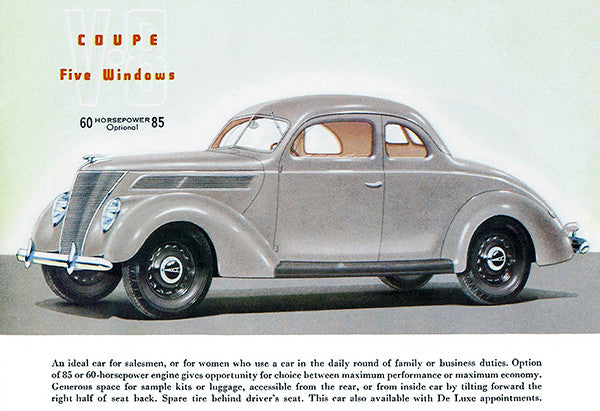 1937 Ford V-8 5 Window Coupe - Promotional Advertising Poster