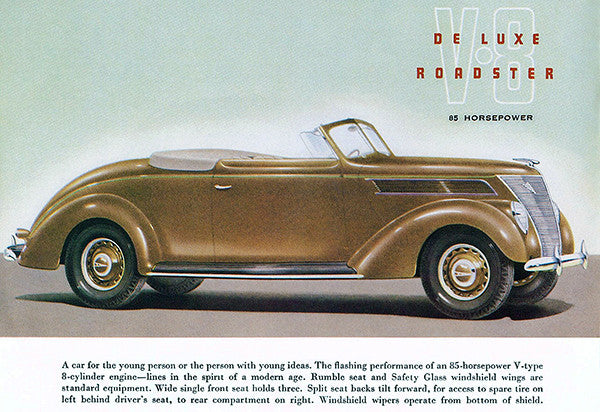 1937 ford v 8 de luxe roadster promotional advertising poster 1937 Ford Bumper 1937 ford v 8 de luxe roadster promotional advertising poster