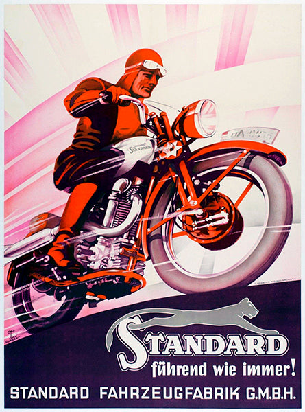 1937 Standard Motorcycles - Germany - Promotional Advertising Poster
