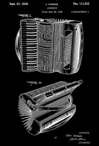 1938 - Accordion - J. Vassos - Patent Art Mug