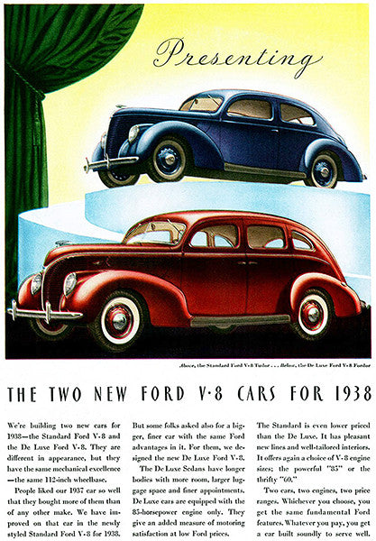 1938 Ford V-8 - Two New Fords - Promotional Advertising Poster