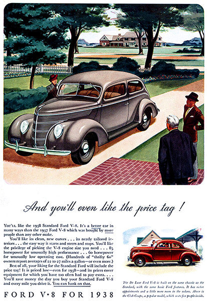 1938 Ford V-8 - You'll Like The Price Tag - Promotional Advertising Poster