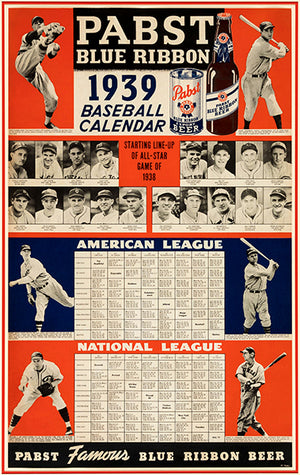 1939 Pabst Blue Ribbon Baseball Calendar - Promotional Advertising Poster