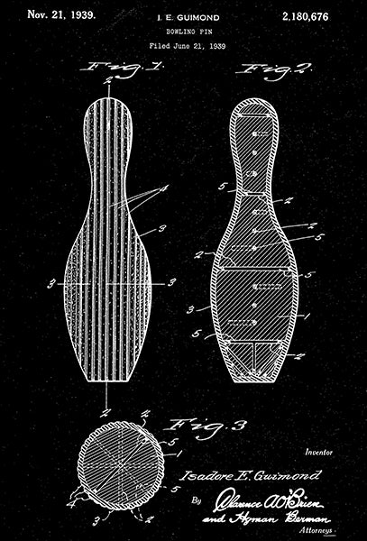 1939 - Bowling Pin - Game - I. E. Guimond - Patent Art Poster
