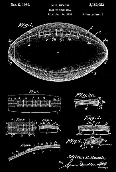 1939 - Football Ball - Play Or Game Ball - M. B. Reach - Patent Art Poster