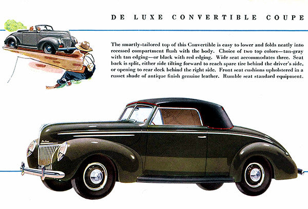 1939 Ford De Luxe Convertible Coupe - Promotional Advertising Poster