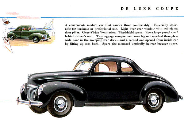 1939 Ford De Luxe Coupe - Promotional Advertising Poster