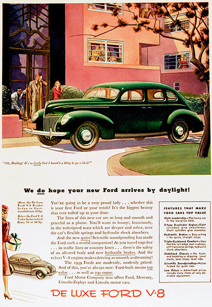 1939 Ford De Luxe V-8 - Promotional Advertising Poster