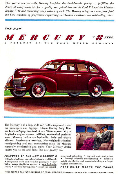 1939 Mercury Eight Town-Sedan - Promotional Advertising Poster