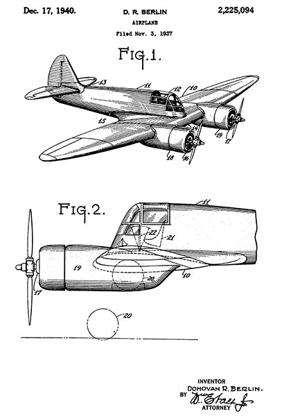 1940 - Airplane - D. R. Berlin - Patent Art Poster