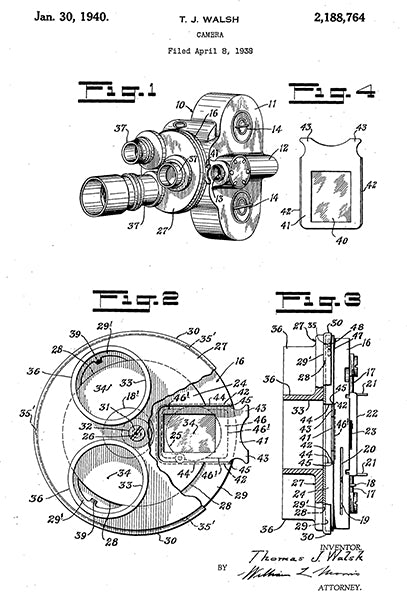 1940 - Movie Camera - T. J. Walsh - Patent Art Poster
