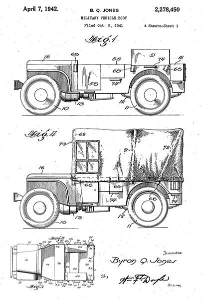 1942 - Military Vehicle Jeep - World War II - B. Q. Jones - Patent Art Mug