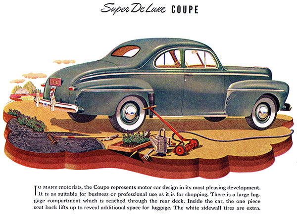 1942 Ford Super De Luxe Coupe - Promotional Advertising Poster