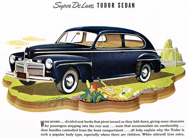 1942 Ford Super De Luxe Tudor Sedan - Promotional Advertising Poster