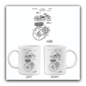 1943 - Shaft Drive For Motorcycles - Indian - G. B. Weaver - Patent Art Mug