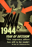 1944 - Year Of Decision - 1940's - World War II - Propaganda Poster