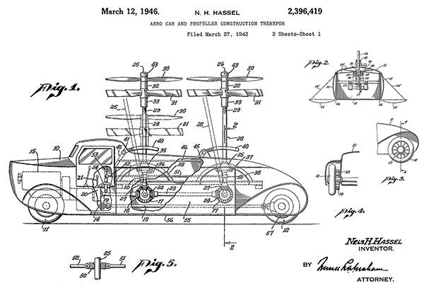 1946 - Aero Car & Propeller Construction - N. H. Hassel - Patent Art Mug