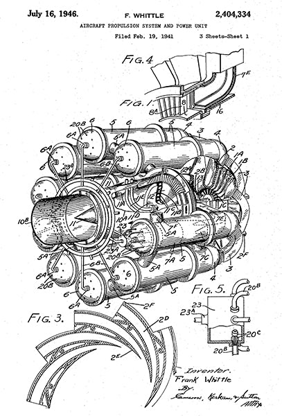 1946 - Jet Engine - Aircraft Propulsion System & Power Unit - F. Whittle - Patent Art Poster