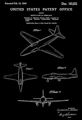1946 - Lockheed P-80 Shooting Star Fighter - C. L. Johnson - Patent Art Poster