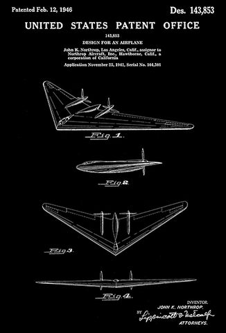 1946 - Northrop N-1M Flying Wing Airplane - Patent Art Poster
